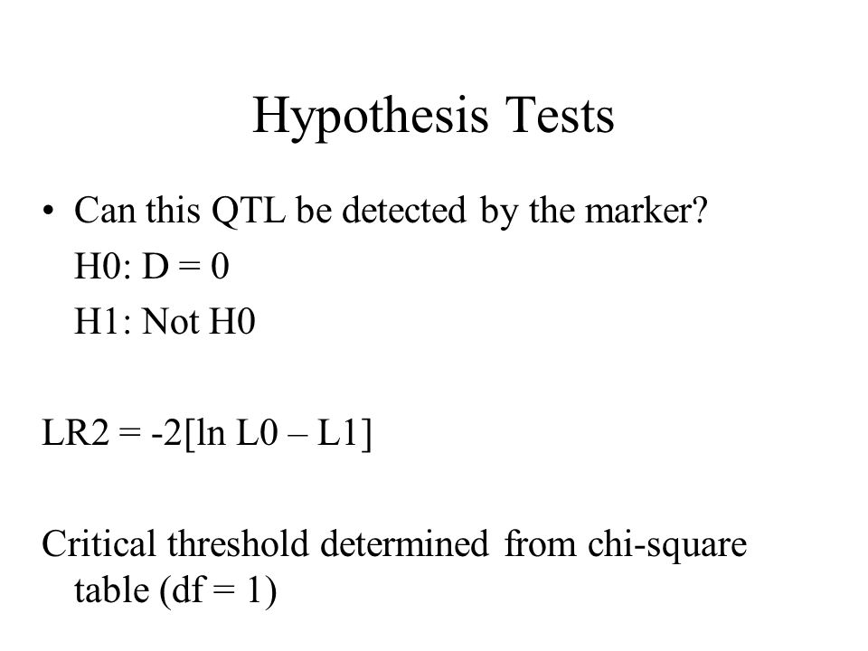 Hypothesis Tests Can this QTL be detected by the marker.