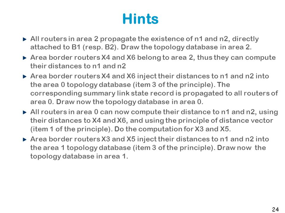 Hints All routers in area 2 propagate the existence of n1 and n2, directly attached to B1 (resp.