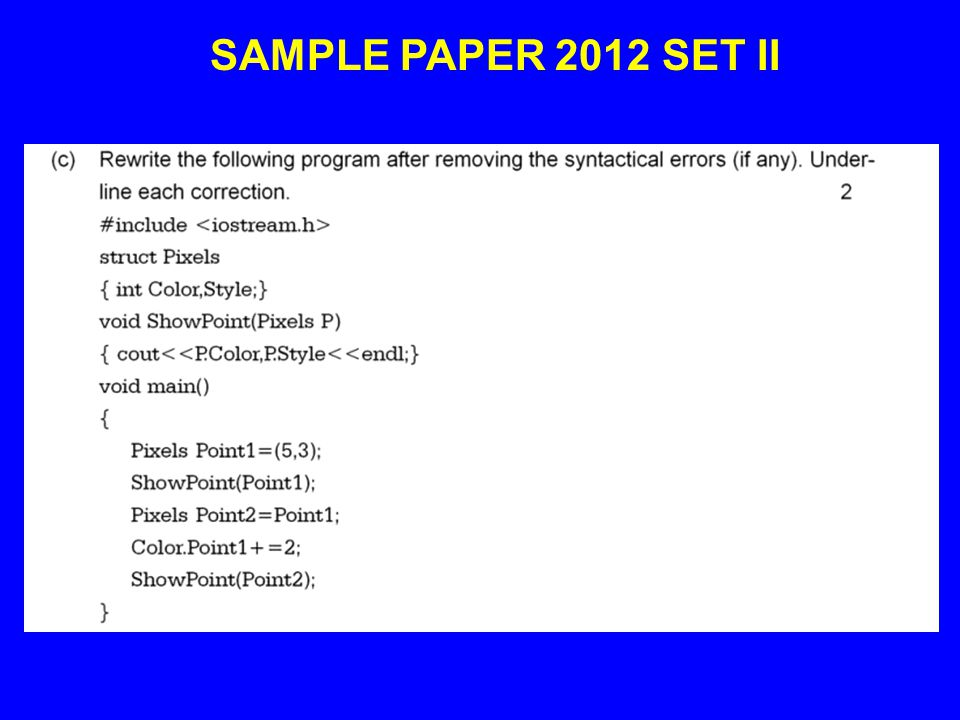 SAMPLE PAPER 2012 SET II