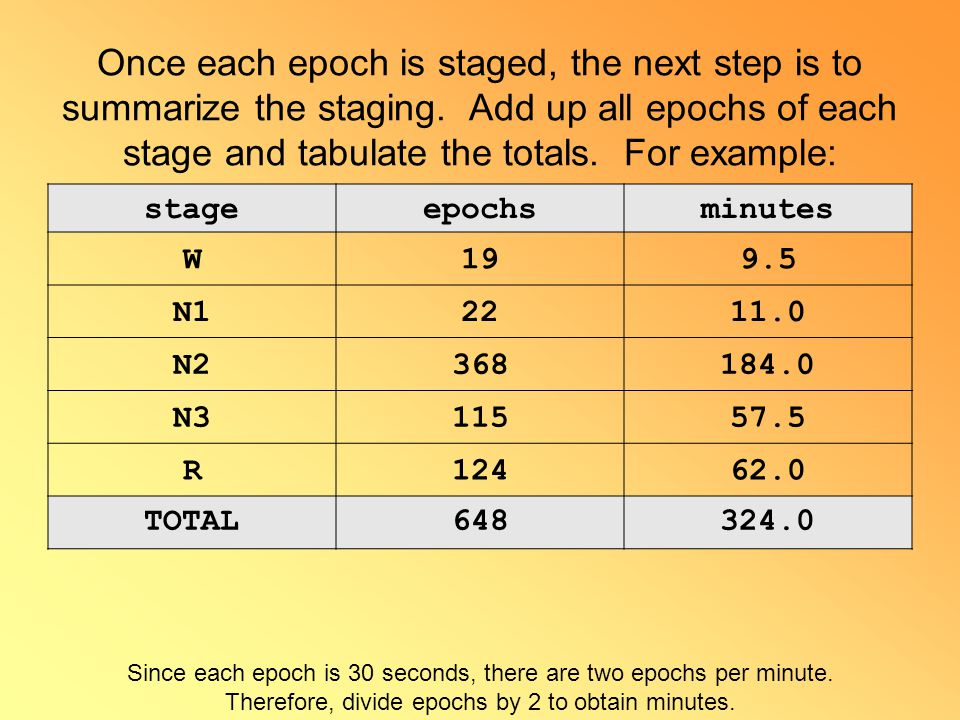 Once each epoch is staged, the next step is to summarize the staging. Add up all epochs of each stage and tabulate the totals. For example: stageepoch