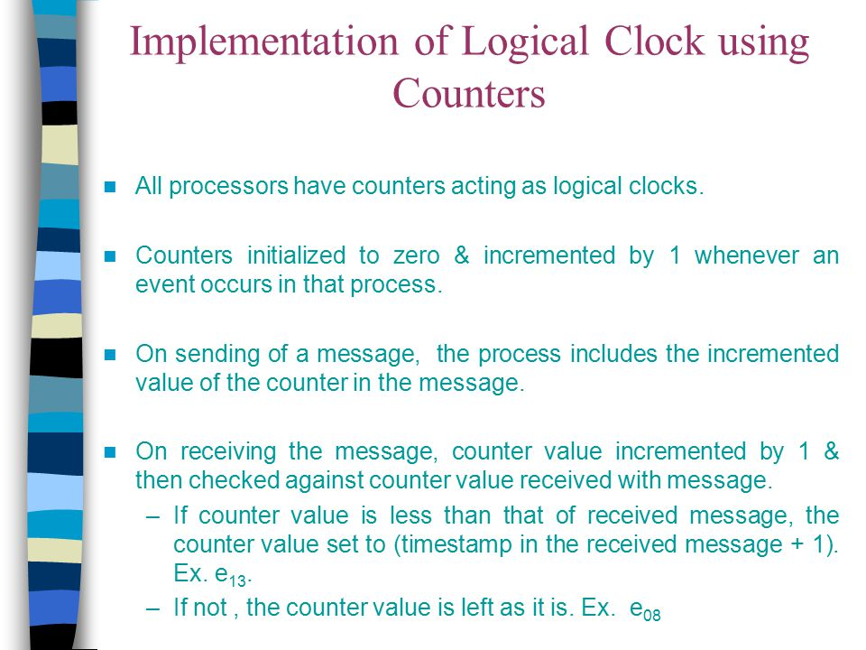 Implementation of Logical Clock using Counters All processors have counters acting as logical clocks. Counters initialized to zero & incremented by 1
