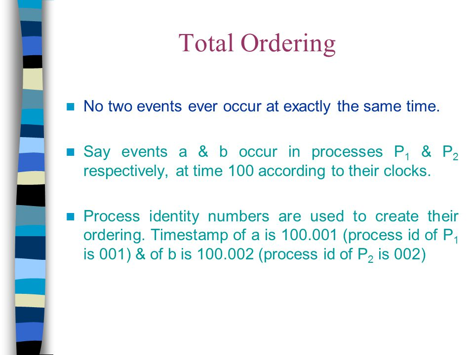 Total Ordering No two events ever occur at exactly the same time. Say events a & b occur in processes P 1 & P 2 respectively, at time 100 according to