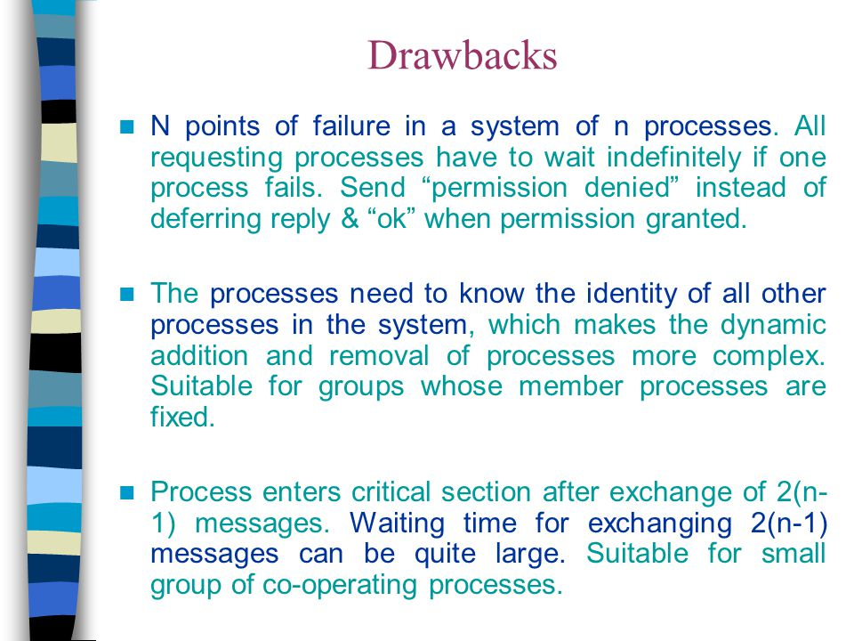 """Drawbacks N points of failure in a system of n processes. All requesting processes have to wait indefinitely if one process fails. Send """"permission de"""