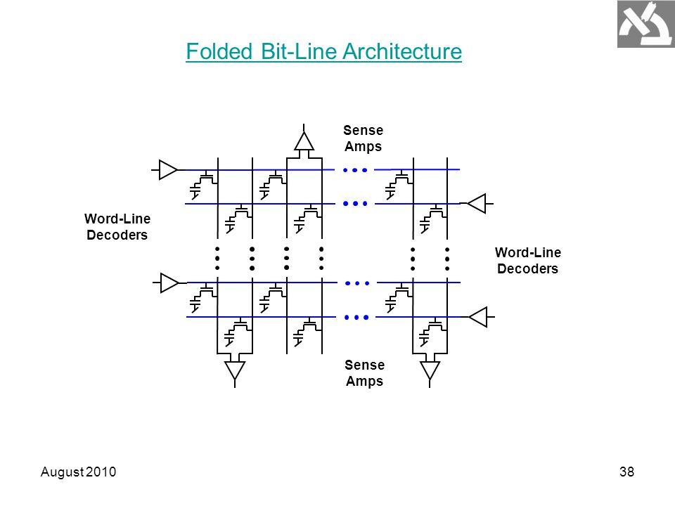 August 201038 Word-Line Decoders Sense Amps Folded Bit-Line Architecture