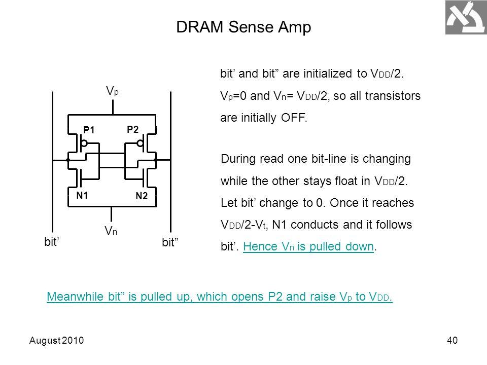 August 201040 P1 P2 N1 N2 VpVp VnVn bit' bit DRAM Sense Amp bit' and bit are initialized to V DD /2.