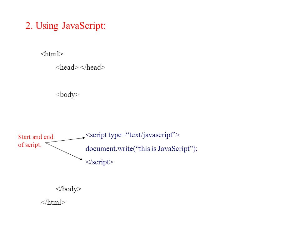 2. Using JavaScript: document.write( this is JavaScript ); Start and end of script.