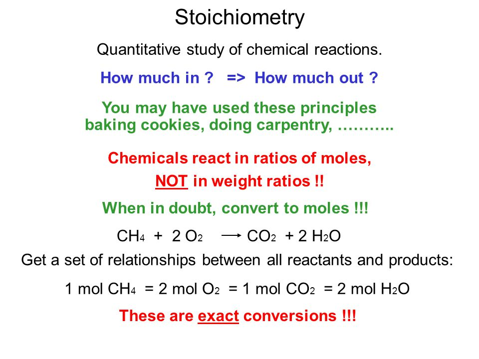 Stoichiometry Quantitative study of chemical reactions. How much in ? => How much out ? You may have used these principles baking cookies, doing carpe
