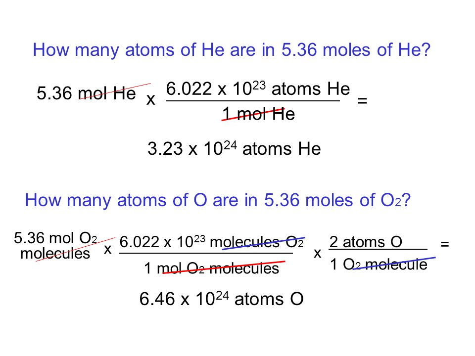 1 O 2 molecule 1 mol O 2 molecules How many atoms of He are in 5.36 moles of He? 5.36 mol He x 6.022 x 10 23 atoms He 1 mol He = 3.23 x 10 24 atoms He