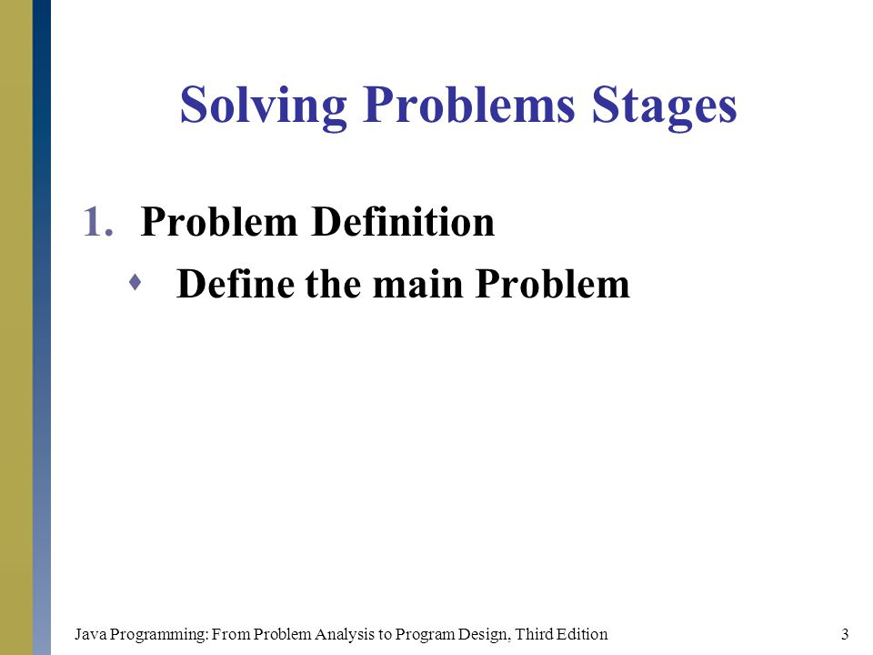 Java Programming: From Problem Analysis to Program Design, Third Edition14 Algorithms  Write a program to print the volume of a cube and the sum of it's surfaces' areas 1.Start the program 2.Read the length of the side ( Length ) 3.Volume = Length * Length * Length 4.Surface = ( Length * Length ) * 6 5.Print the ( Volume ) 6.Print the ( Surface ) 7.End the program