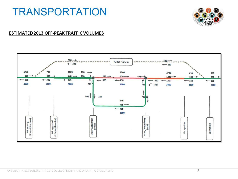 TRANSPORTATION ESTIMATED 2013 OFF-PEAK TRAFFIC VOLUMES 8 KNYSNA | INTEGRATED STRATEGIC DEVELOPMENT FRAMEWORK | OCTOBER 2013