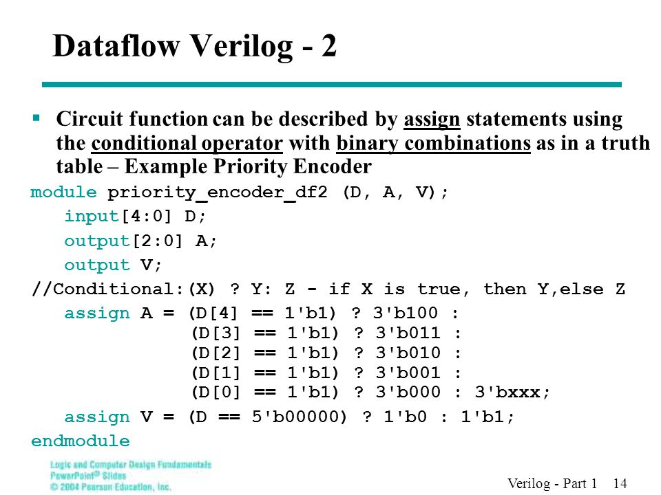 Verilog - Part 1 14 Dataflow Verilog - 2  Circuit function can be described by assign statements using the conditional operator with binary combinations as in a truth table – Example Priority Encoder module priority_encoder_df2 (D, A, V); input[4:0] D; output[2:0] A; output V; //Conditional:(X) .