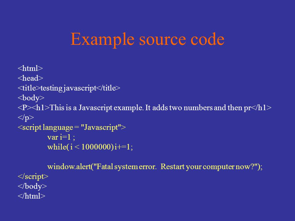Example source code testing javascript This is a Javascript example.