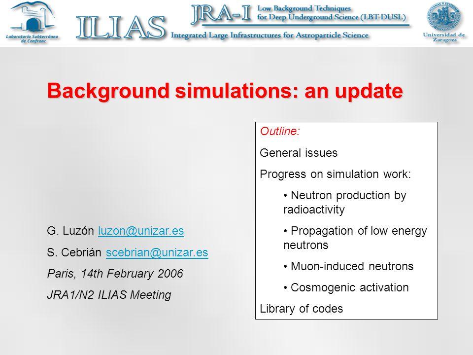Background simulations: an update G. Luzón luzon@unizar.esluzon@unizar.es S.