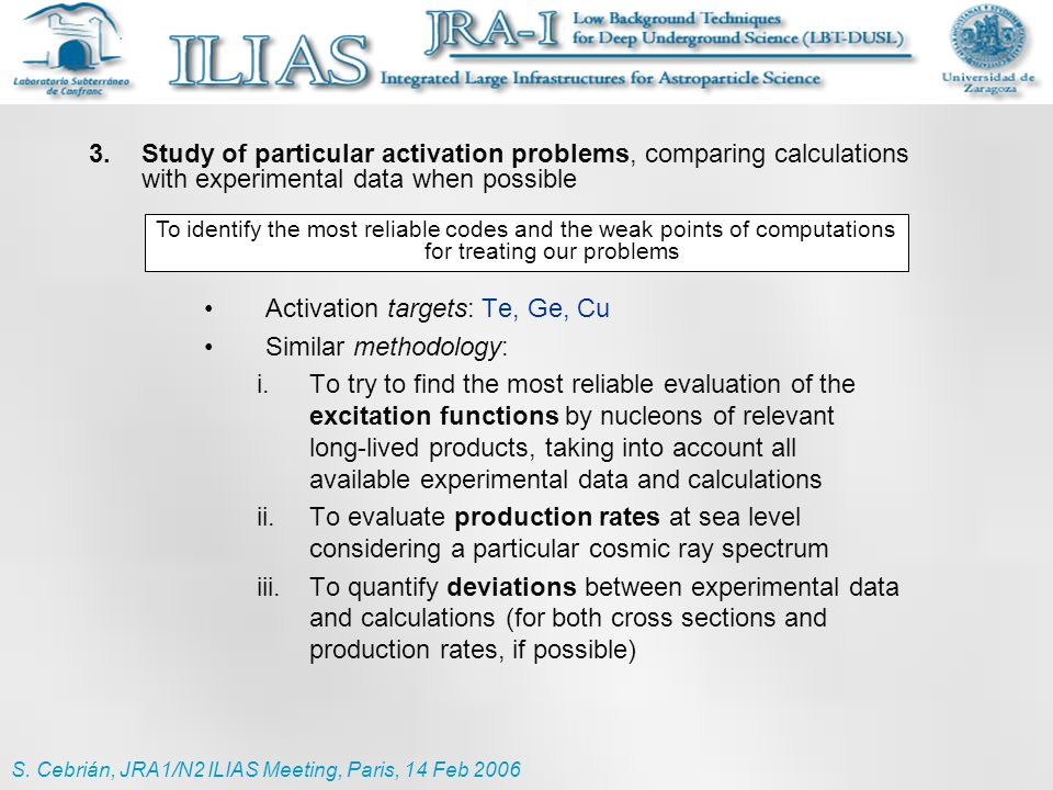 Activation targets: Te, Ge, Cu Similar methodology: i.To try to find the most reliable evaluation of the excitation functions by nucleons of relevant
