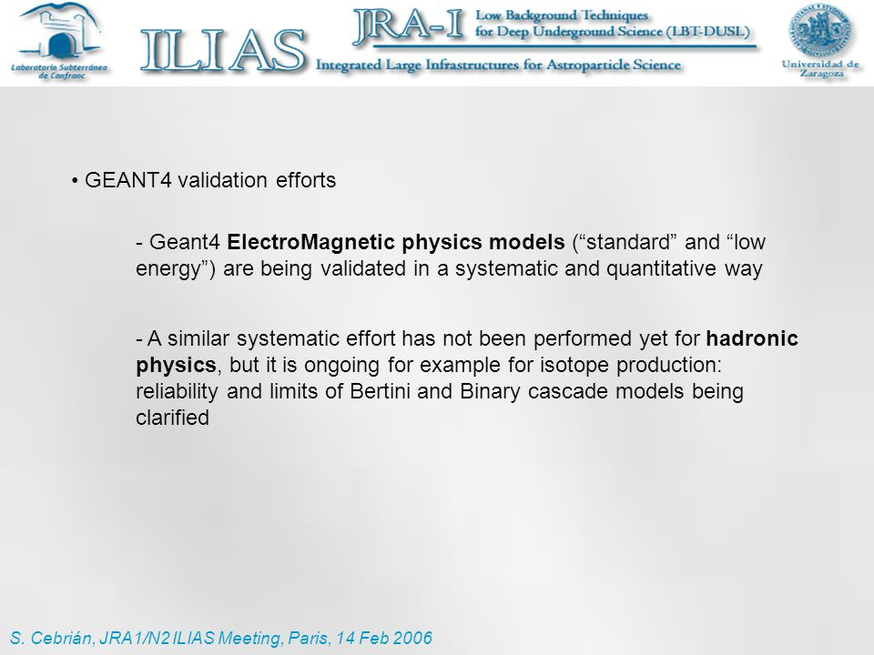 "GEANT4 validation efforts - Geant4 ElectroMagnetic physics models (""standard"" and ""low energy"") are being validated in a systematic and quantitative w"