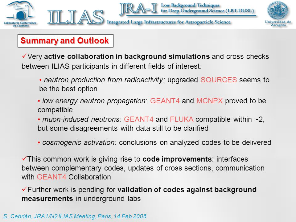 Summary and Outlook Very active collaboration in background simulations and cross-checks between ILIAS participants in different fields of interest: T