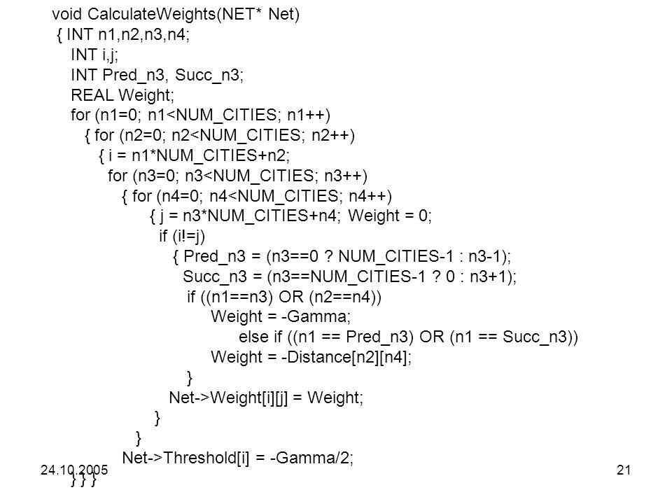 24.10.200521 void CalculateWeights(NET* Net) { INT n1,n2,n3,n4; INT i,j; INT Pred_n3, Succ_n3; REAL Weight; for (n1=0; n1<NUM_CITIES; n1++) { for (n2=