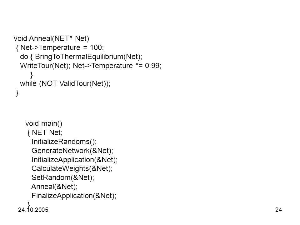 24.10.200524 void main() { NET Net; InitializeRandoms(); GenerateNetwork(&Net); InitializeApplication(&Net); CalculateWeights(&Net); SetRandom(&Net);
