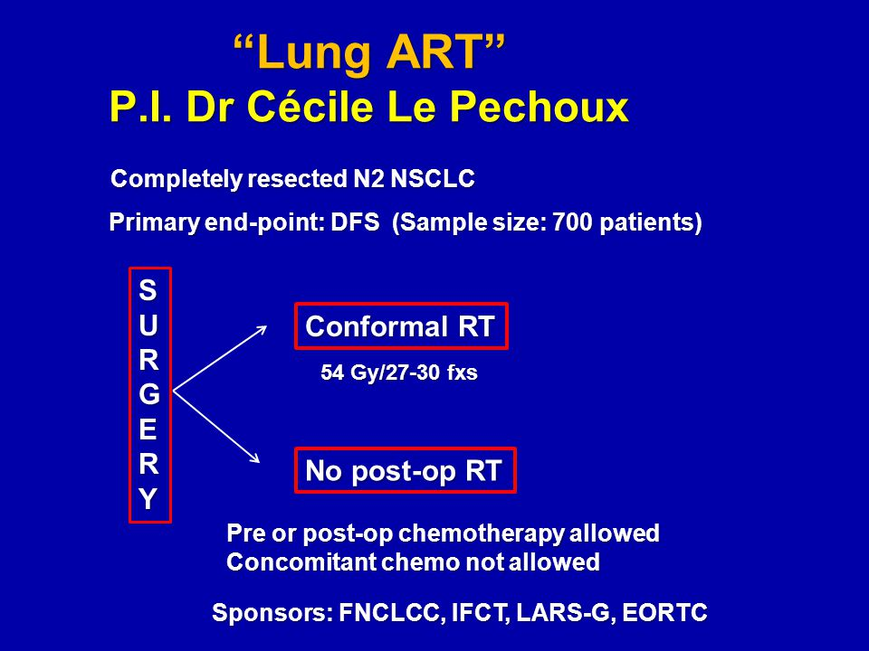 """Lung ART"" P.I. Dr Cécile Le Pechoux Completely resected N2 NSCLC SURGERY Conformal RT No post-op RT 54 Gy/27-30 fxs Primary end-point: DFS (Sample si"