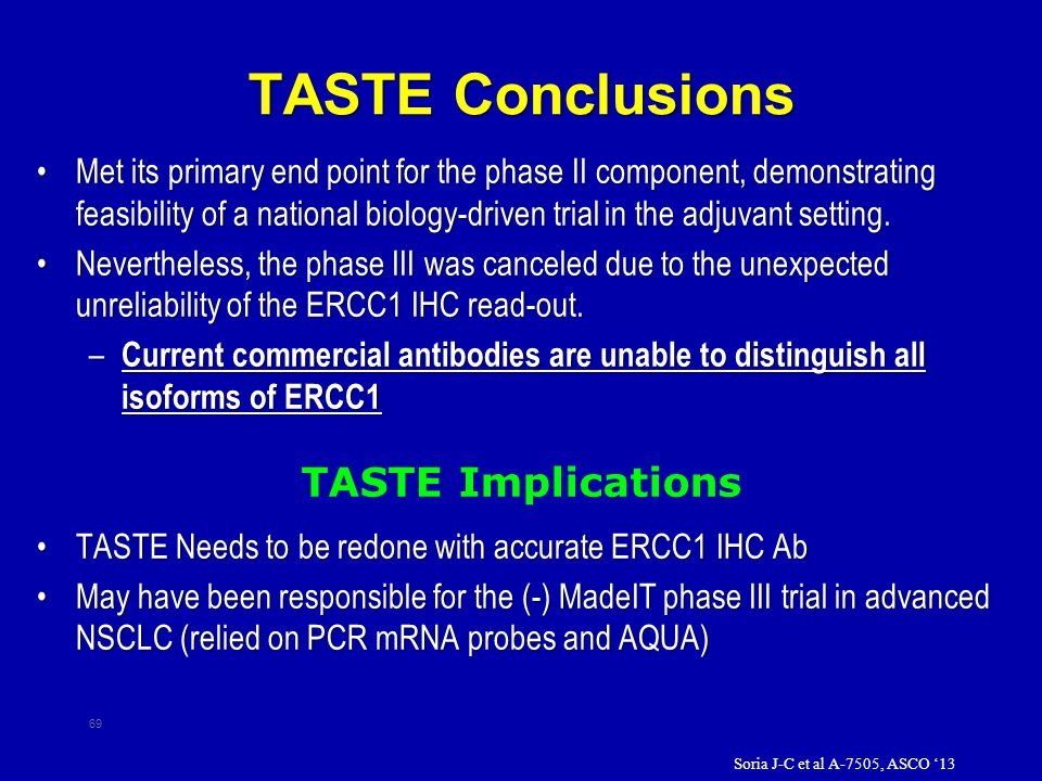 TASTE Conclusions Met its primary end point for the phase II component, demonstrating feasibility of a national biology-driven trial in the adjuvant setting.Met its primary end point for the phase II component, demonstrating feasibility of a national biology-driven trial in the adjuvant setting.