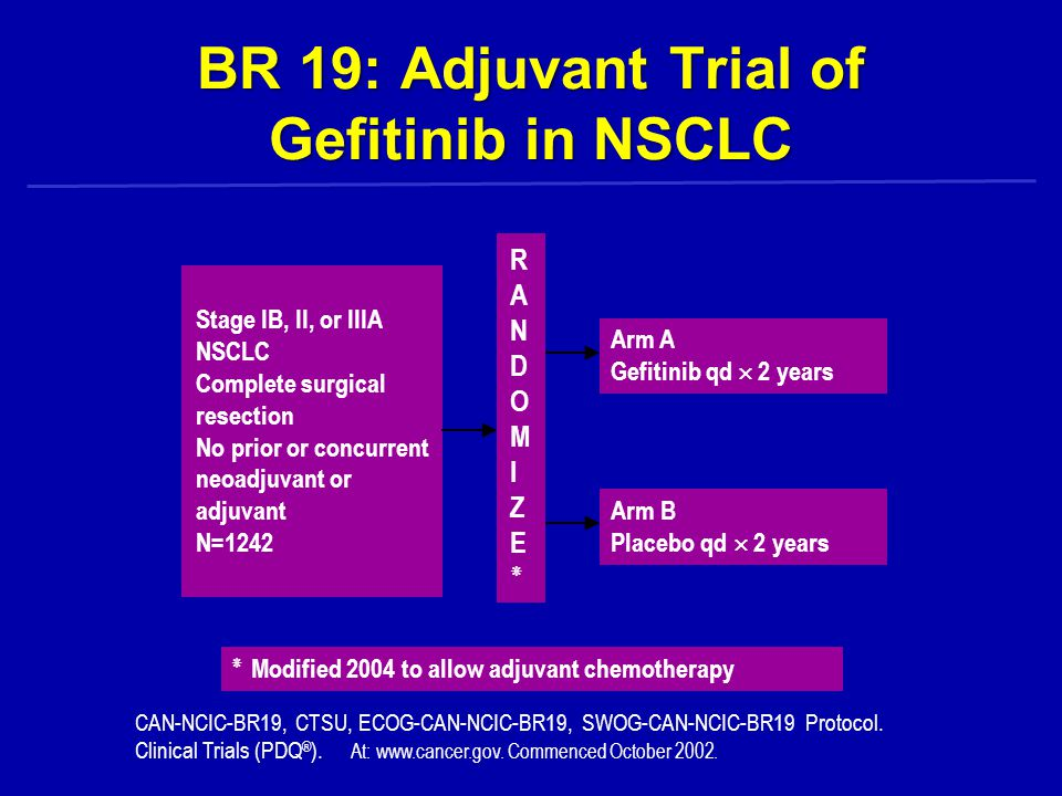 BR 19: Adjuvant Trial of Gefitinib in NSCLC Stage IB, II, or IIIA NSCLC Complete surgical resection No prior or concurrent neoadjuvant or adjuvant N=1242 ٭ Modified 2004 to allow adjuvant chemotherapy Arm A Gefitinib qd  2 years Arm B Placebo qd  2 years CAN-NCIC-BR19, CTSU, ECOG-CAN-NCIC-BR19, SWOG-CAN-NCIC-BR19 Protocol.
