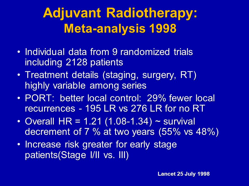 Adjuvant Radiotherapy: Meta-analysis 1998 Individual data from 9 randomized trials including 2128 patientsIndividual data from 9 randomized trials including 2128 patients Treatment details (staging, surgery, RT) highly variable among seriesTreatment details (staging, surgery, RT) highly variable among series PORT: better local control: 29% fewer local recurrences - 195 LR vs 276 LR for no RTPORT: better local control: 29% fewer local recurrences - 195 LR vs 276 LR for no RT Overall HR = 1.21 (1.08-1.34) ~ survival decrement of 7 % at two years (55% vs 48%)Overall HR = 1.21 (1.08-1.34) ~ survival decrement of 7 % at two years (55% vs 48%) Increase risk greater for early stage patients(Stage I/II vs.