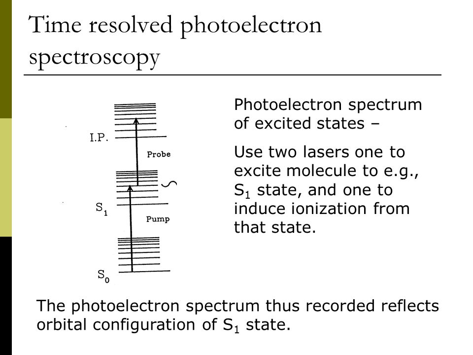 Time resolved photoelectron spectroscopy Photoelectron spectrum of excited states – Use two lasers one to excite molecule to e.g., S 1 state, and one