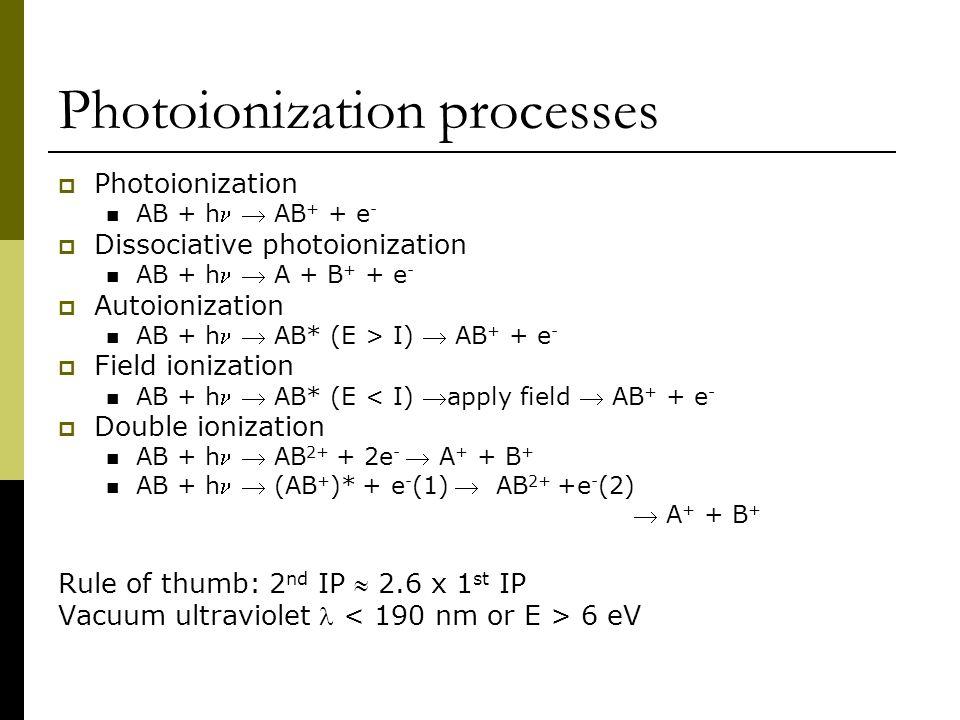 Photoionization processes  Photoionization AB + h  AB + + e -  Dissociative photoionization AB + h  A + B + + e -  Autoionization AB + h  AB* (E