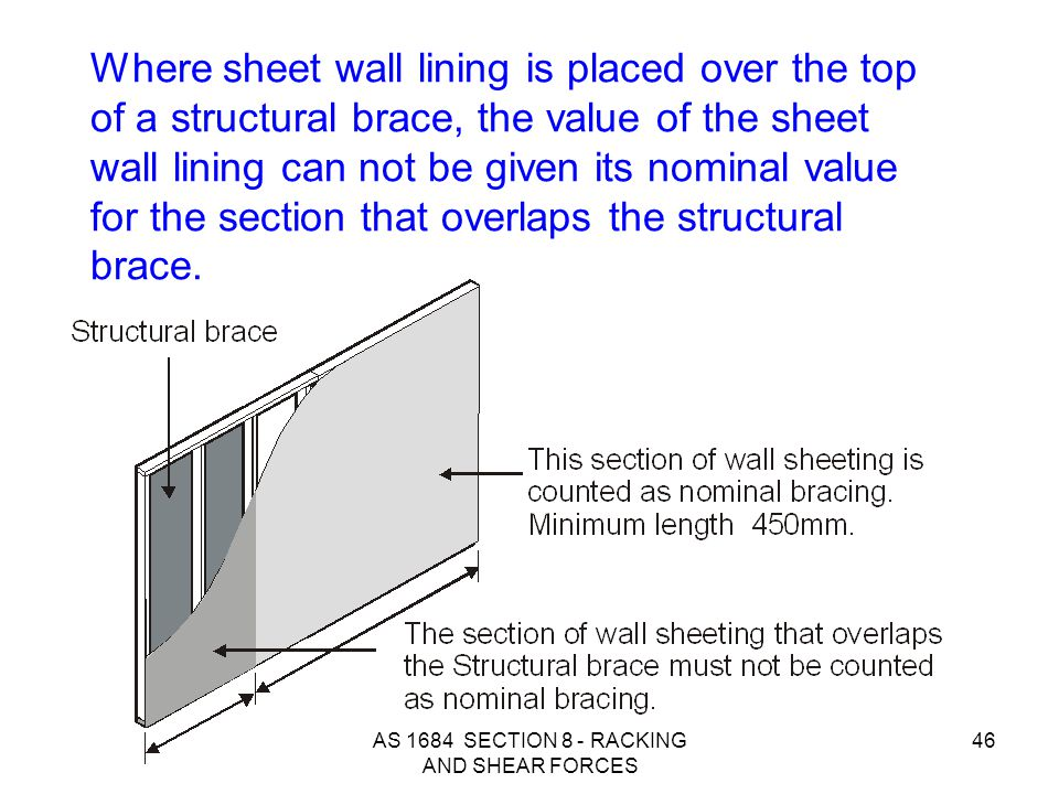 AS 1684 SECTION 8 - RACKING AND SHEAR FORCES 46 Where sheet wall lining is placed over the top of a structural brace, the value of the sheet wall lini
