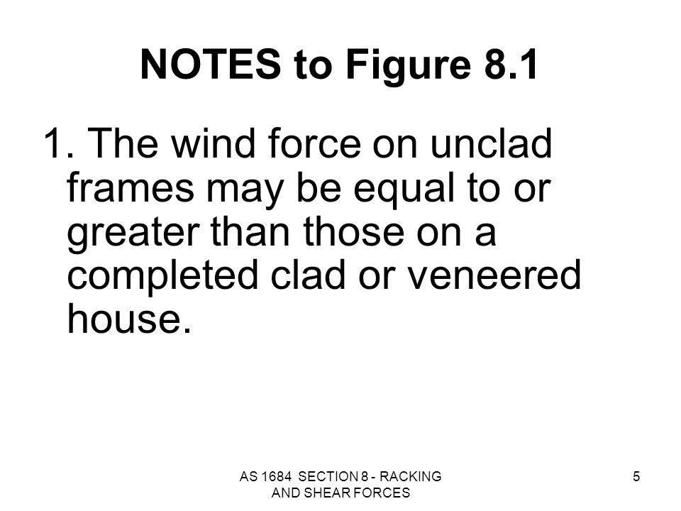 AS 1684 SECTION 8 - RACKING AND SHEAR FORCES 6 NOTES to Figure 8.1 2.Horizontal wind (racking) forces are applied to external surfaces that are supported by horizontal or near horizontal diaphragms.
