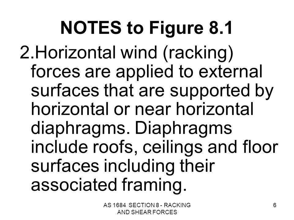 AS 1684 SECTION 8 - RACKING AND SHEAR FORCES 67 FIGURE 8.6 SPACING OF BRACING