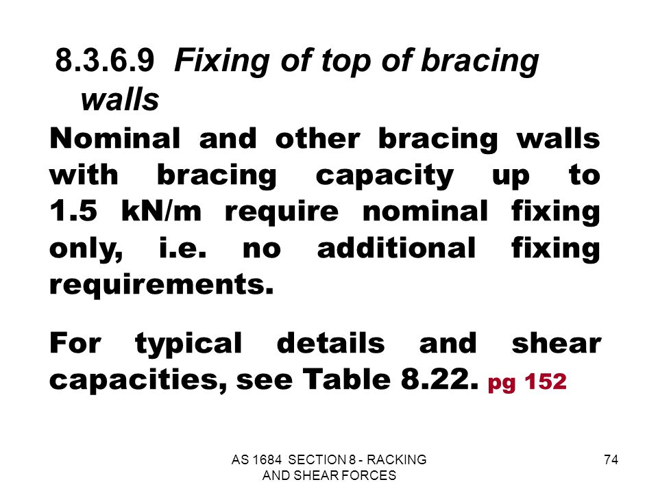 AS 1684 SECTION 8 - RACKING AND SHEAR FORCES 74 Nominal and other bracing walls with bracing capacity up to 1.5 kN/m require nominal fixing only, i.e.