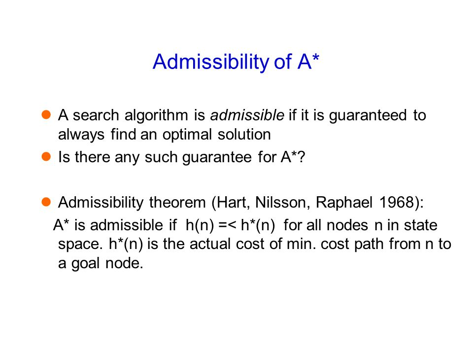 Admissibility of A* A search algorithm is admissible if it is guaranteed to always find an optimal solution Is there any such guarantee for A*.