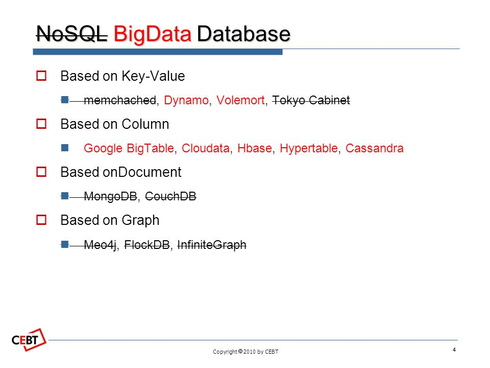 Copyright  2010 by CEBT NoSQL BigData Database  Based on Key-Value memchached, Dynamo, Volemort, Tokyo Cabinet  Based on Column Google BigTable, Cl