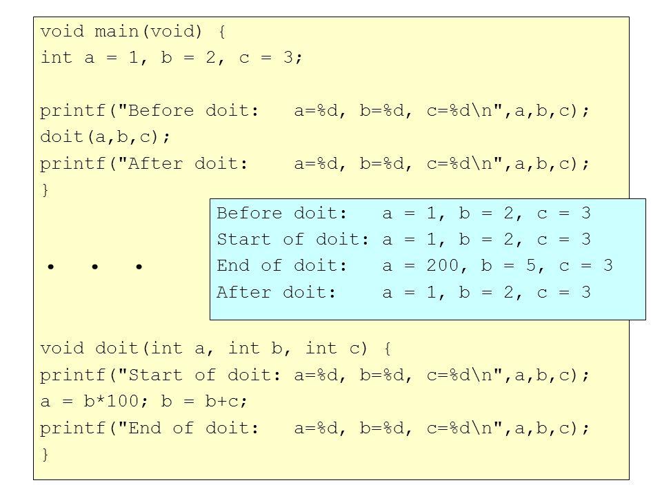 void main(void) { int a = 1, b = 2, c = 3; printf( Before doit: a=%d, b=%d, c=%d\n ,a,b,c); doit(a,b,c); printf( After doit: a=%d, b=%d, c=%d\n ,a,b,c); }...