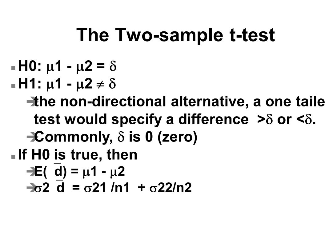 The Two-sample t-test H0:  1 -  2 =  H1:  1 -  2    the non-directional alternative, a one tailed test would specify a difference >  or < .