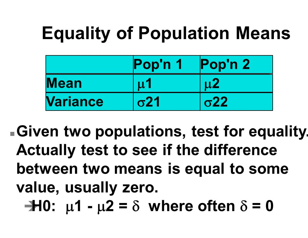 Equality of Population Means n Given two populations, test for equality.
