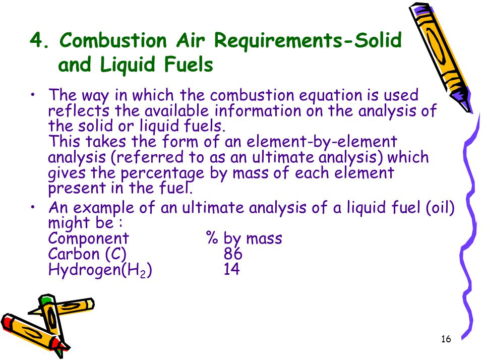 16 4. Combustion Air Requirements-Solid and Liquid Fuels The way in which the combustion equation is used reflects the available information on the an