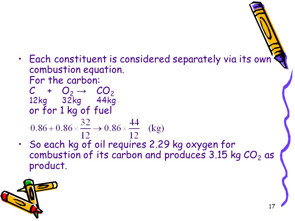 17 Each constituent is considered separately via its own combustion equation. For the carbon: C+O 2 → CO 2 12kg32kg44kg or for 1 kg of fuel So each kg