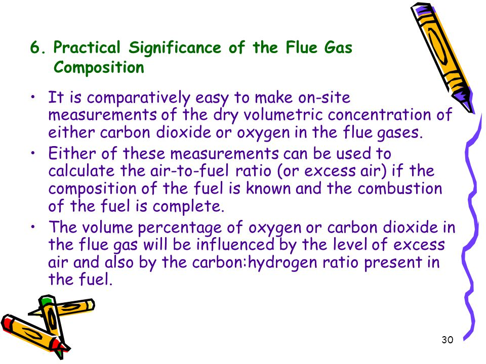 30 6. Practical Significance of the Flue Gas Composition It is comparatively easy to make on-site measurements of the dry volumetric concentration of