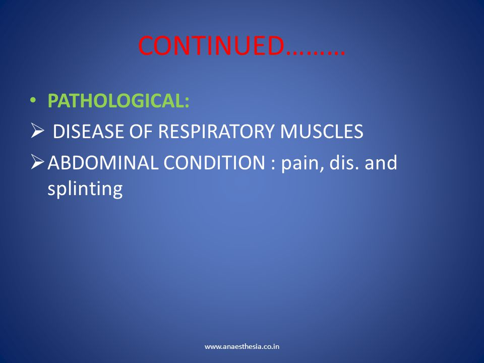 CONTINUED……… PATHOLOGICAL:  DISEASE OF RESPIRATORY MUSCLES  ABDOMINAL CONDITION : pain, dis. and splinting www.anaesthesia.co.in