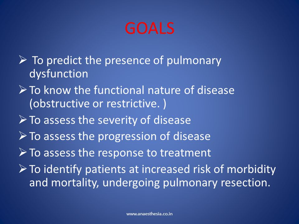 GOALS  To predict the presence of pulmonary dysfunction  To know the functional nature of disease (obstructive or restrictive. )  To assess the sev
