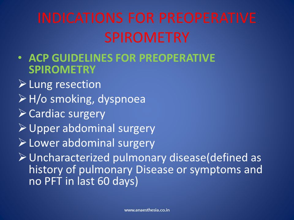 INDICATIONS FOR PREOPERATIVE SPIROMETRY ACP GUIDELINES FOR PREOPERATIVE SPIROMETRY  Lung resection  H/o smoking, dyspnoea  Cardiac surgery  Upper