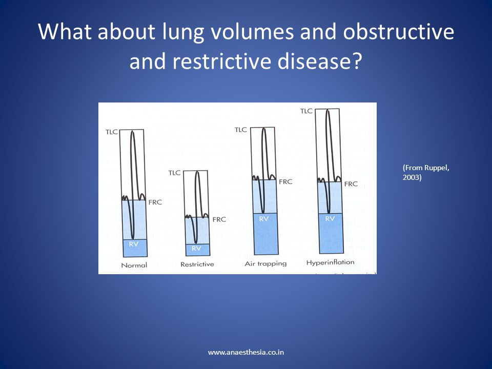 What about lung volumes and obstructive and restrictive disease? (From Ruppel, 2003) www.anaesthesia.co.in