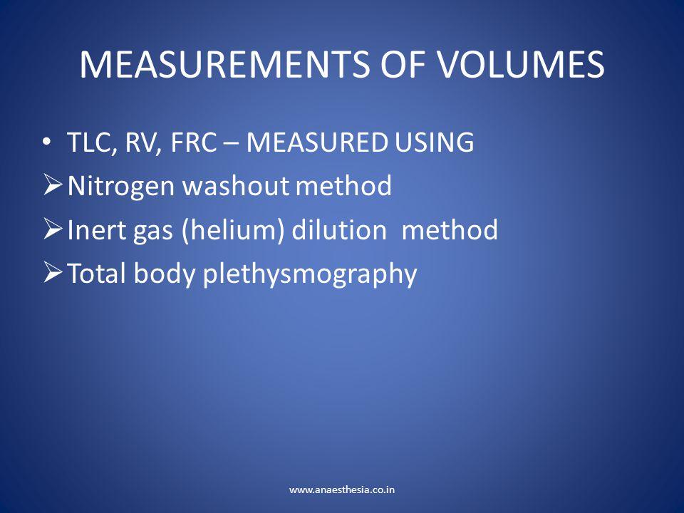 MEASUREMENTS OF VOLUMES TLC, RV, FRC – MEASURED USING  Nitrogen washout method  Inert gas (helium) dilution method  Total body plethysmography www.