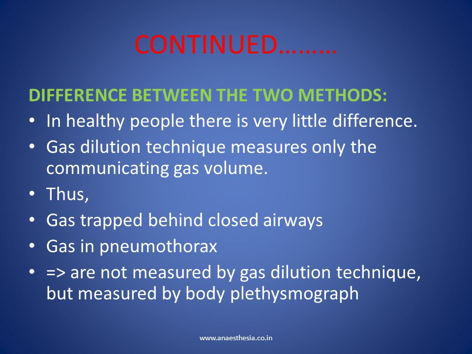 CONTINUED……… DIFFERENCE BETWEEN THE TWO METHODS: In healthy people there is very little difference. Gas dilution technique measures only the communica