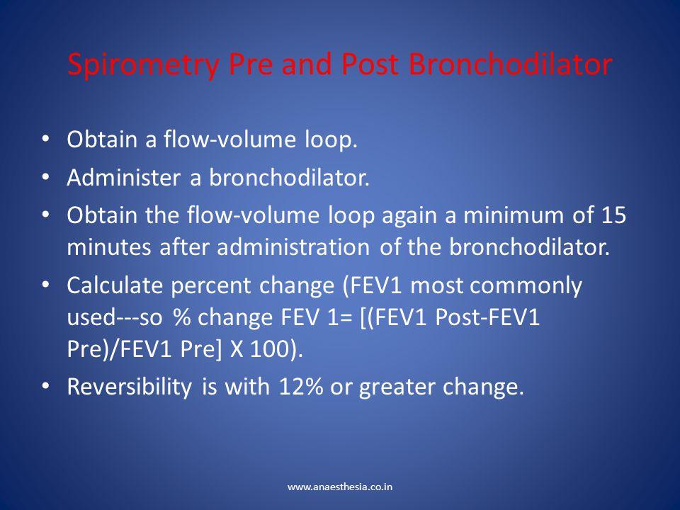 Spirometry Pre and Post Bronchodilator Obtain a flow-volume loop. Administer a bronchodilator. Obtain the flow-volume loop again a minimum of 15 minut