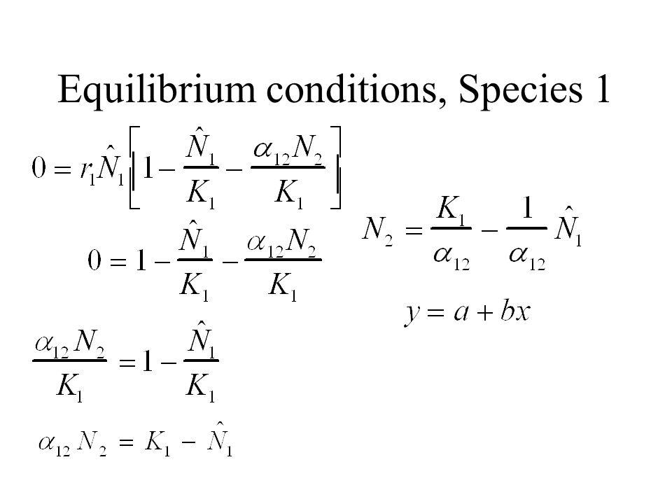 Equilibrium conditions, Species 1