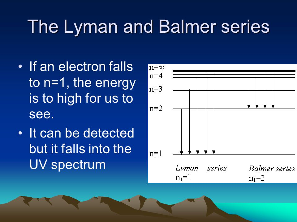 The Lyman and Balmer series If an electron falls to n=1, the energy is to high for us to see.