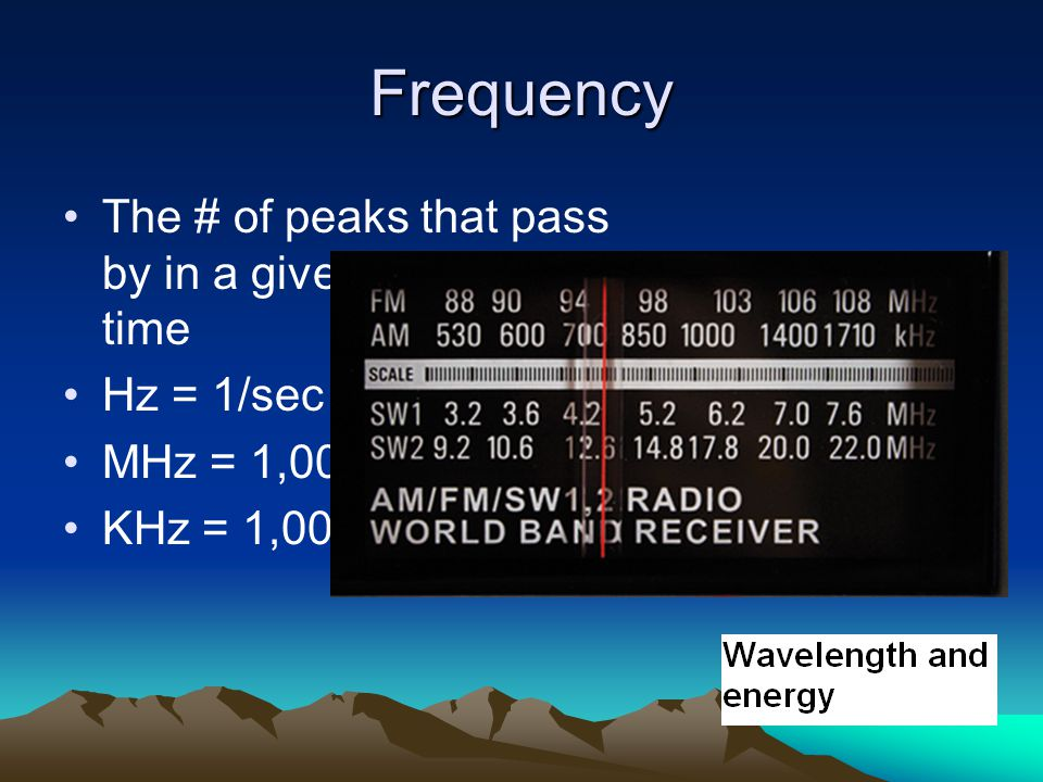 Frequency The # of peaks that pass by in a given amount of time Hz = 1/sec MHz = 1,000,000/sec KHz = 1,000/sec